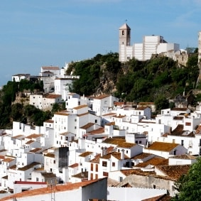 View of the town and surrounding countryside, pueblo blanco, Casares, Costa del Sol, Malaga Province, Andalucia, Spain, Western Europe.
