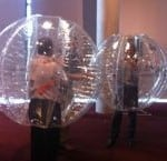 Delegates zorb-fighting!