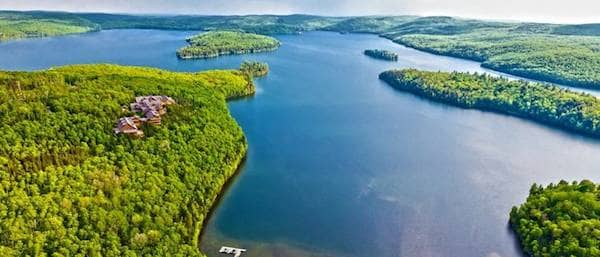 panorama lake of sacacomie  in quebec canada