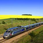 Speeding through French countryside
