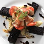 Hand-dived scallops and Stornoway black pudding