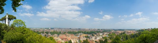 Birds eye view of Rome from Janiculum Hill