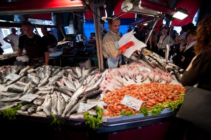 The Rialto fish market, Venice