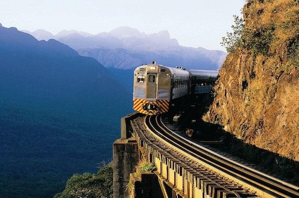 railway train bridge winding cliff track