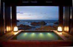 Stunning outdoor hot spring bath at the exclusive Lamp no Yado Ryokan on the Noto Peninsula