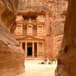 Camels outside the Treasury at Petra in Jordan - city carved out of the rock