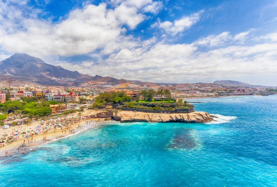 El Duque Beach aerial view in Tenerife, Spain.