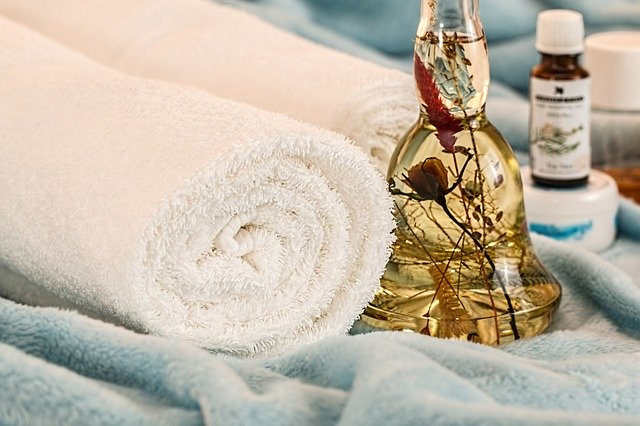 Towel and essential oils in a spa