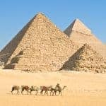 Pyramids of Giza in the morning light